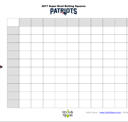 photo regarding Printable Super Bowl Pools referred to as Cost-free Printable 2018 Tremendous Bowl Betting Squares - Tasteful Spoon